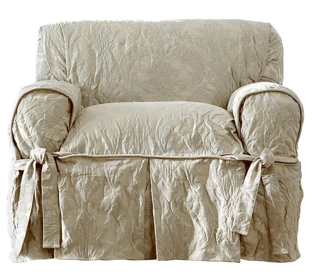 Sure Fit Matelasse Damask Chair Slipcover Qvc Com