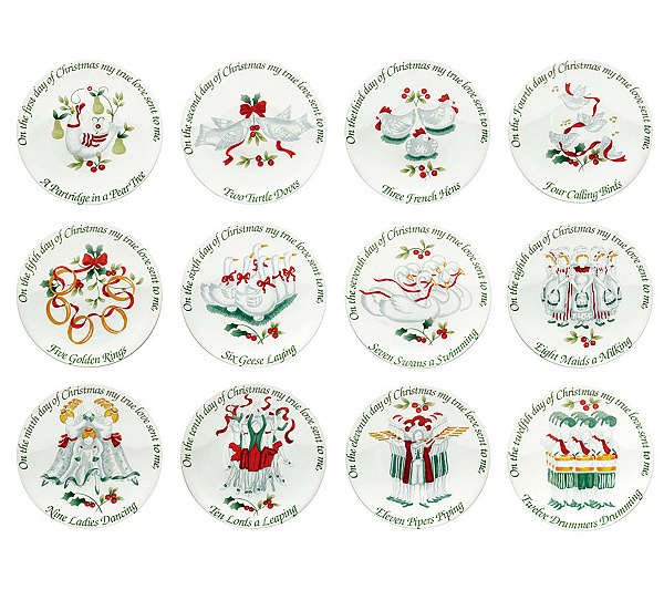 pfaltzgraff winterberry 12 days of christmas appetizer plates