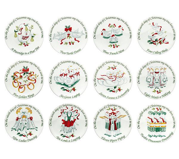 pfaltzgraff winterberry 12 days of christmas appetizer plates