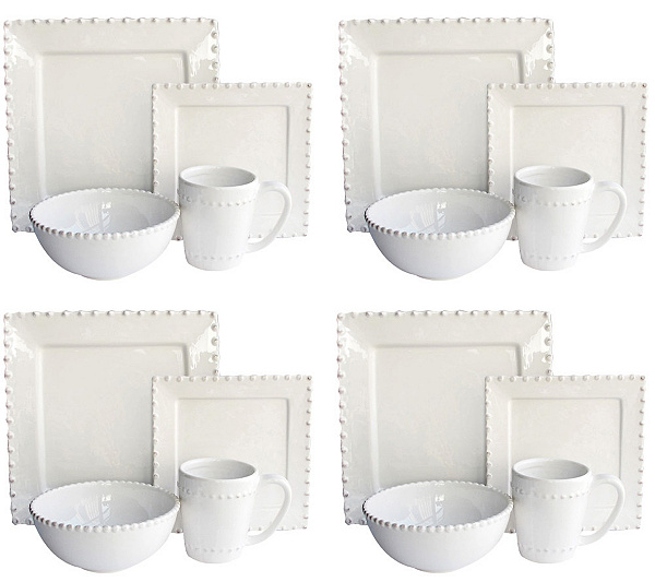 Bianca Bead White Square 16-pc Dinnerware Set - Page 1 — QVC.com