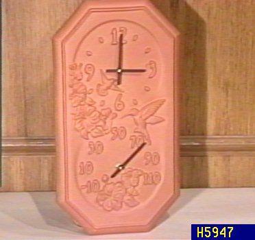 Exceptional Terracotta Hummingbird Clock U0026 Thermometer