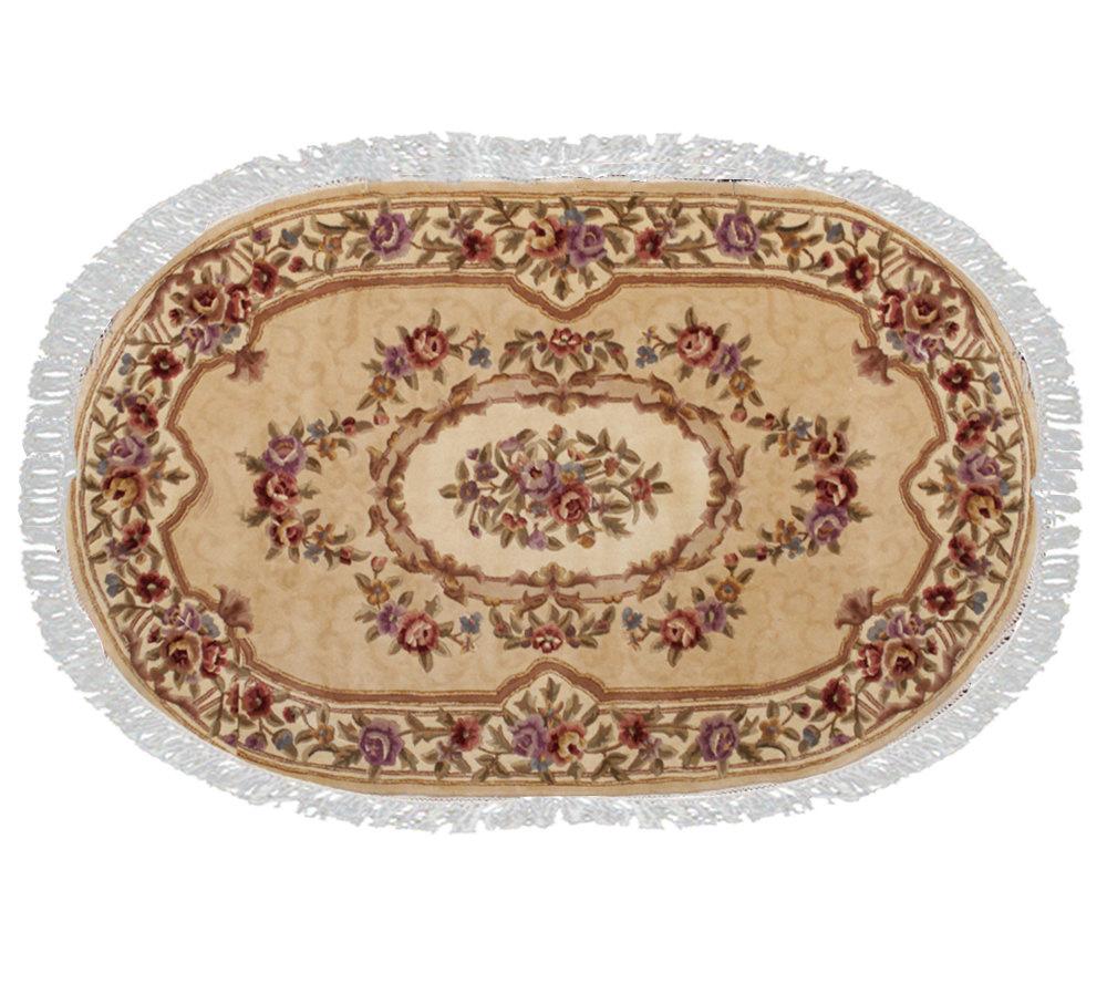 Royal Palace Damask Aubusson 5 6 X 8 6 Oval Wool Rug Page 1