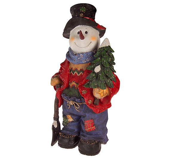 19quot fiber optic resin snowman wchristmas tree and shovel - Fiber Optic Snowman Christmas Decorations