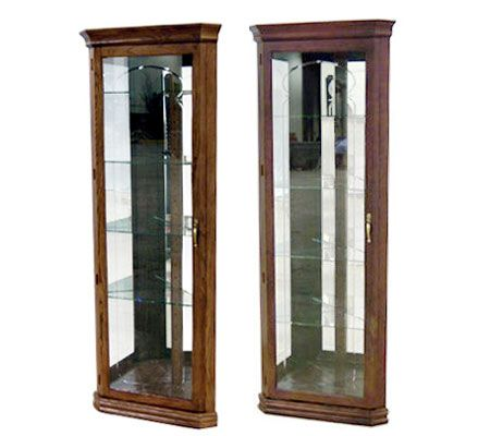 Truemark Solid Wood Corner Curio Cabinet With 5 Shelves. Product Thumbnail.  In Stock