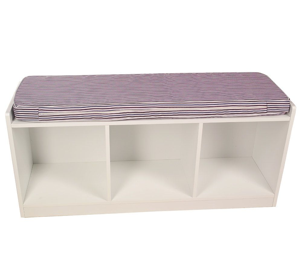 3 Compartment Storage Bench With Striped Fabric Seat. Product Thumbnail. In  Stock