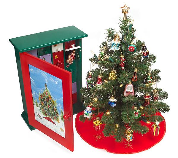 Thomas Pacconi Advent Cabinet w/ Prelit Tree & 24 BlownGlass Ornaments - Thomas Pacconi Advent Cabinet W/ Prelit Tree & 24 BlownGlass