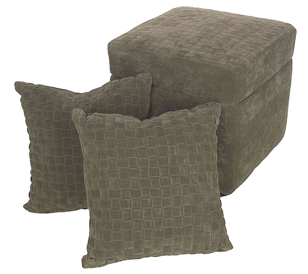 Faux Suede Storage Ottoman With Decorative Pillow Set. Product Thumbnail.  In Stock