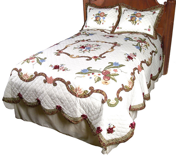 Ribbon Embroidery Fq Oversized Applique Quilt 2 Shams Set Page