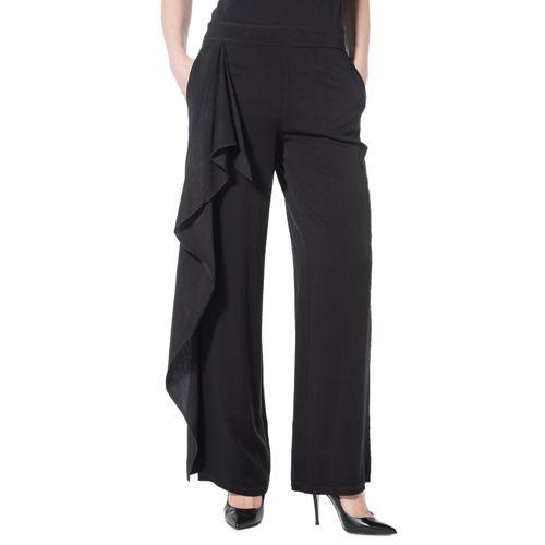 58d62fe9d9c3 Mood Atelier Pantaloni ampi made in Italy con rouche - QVC Italia