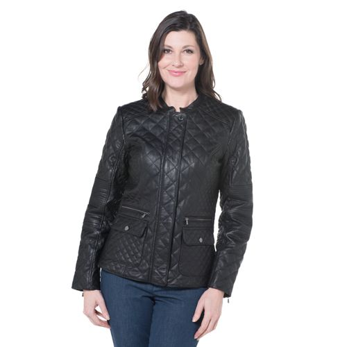 best cheap 94d50 aae41 Isaac Mizrahi Live! Giacca in pelle effetto trapuntato modello chiodo