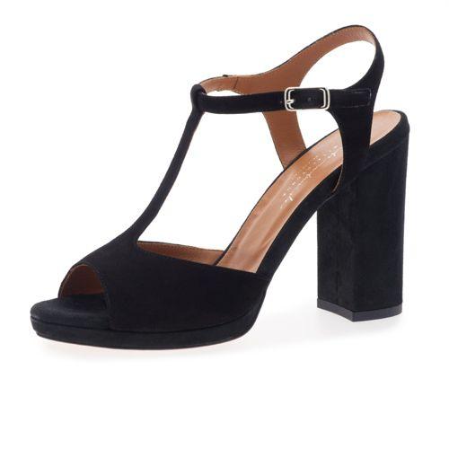 Sandalo spuntato a T in pelle scamosciata con tacco 11cm qvc-moda neri Pelle Precios Precio Barato zRgcS8H