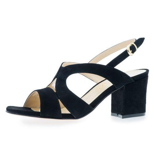 Sandalo a fasce in pelle scamosciata con tacco 6.5cm qvc-moda neri Aclaramiento De Compra WEEs5j1I