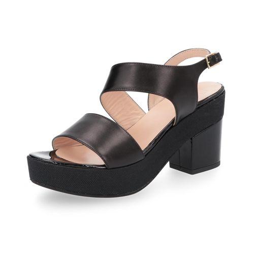 Sandalo in pelle con tacco 8.5cm e plateau 3.5cm qvc-moda neri Falsa Precio Barato 4tAuk