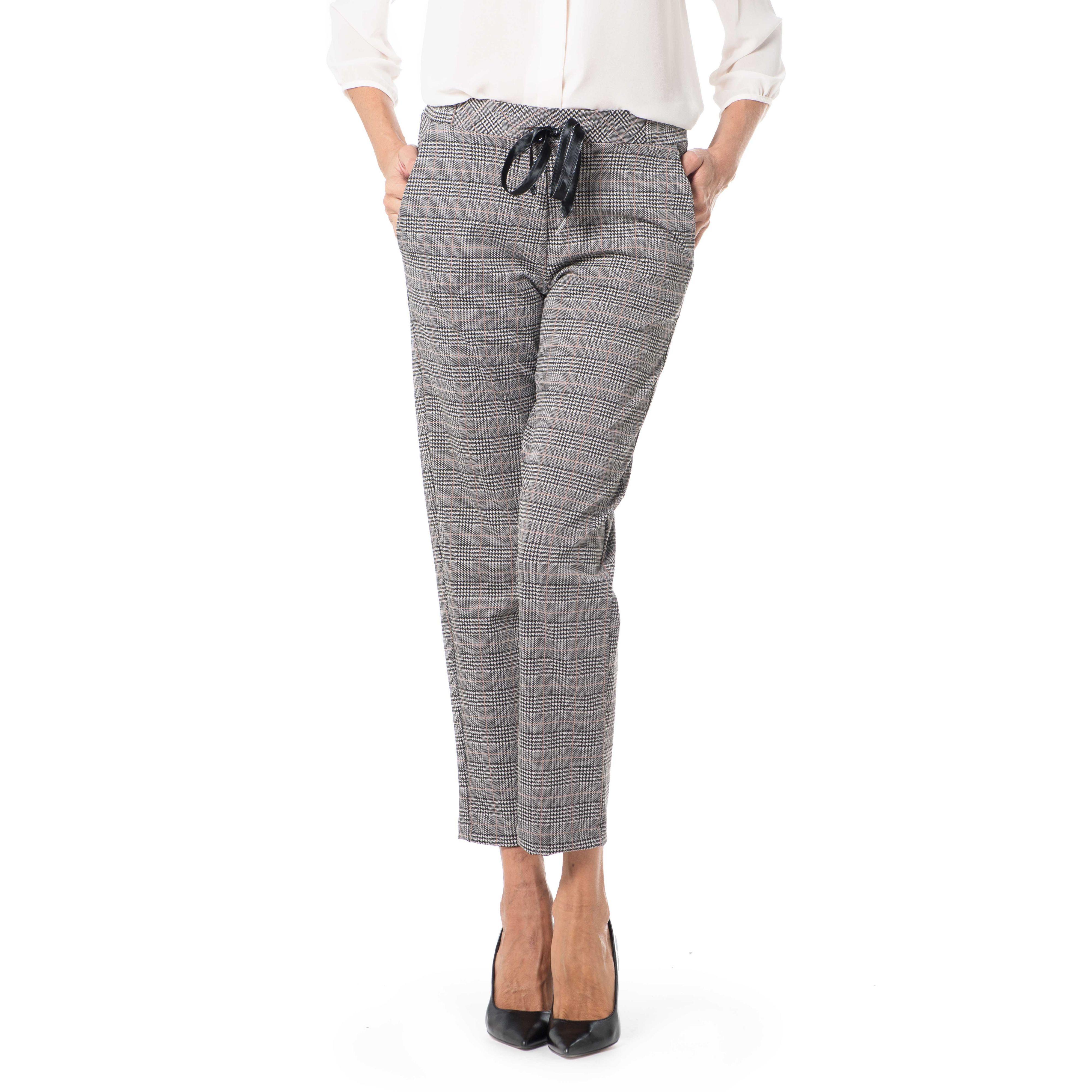 Image of Pantaloni jacquard in principe di galles