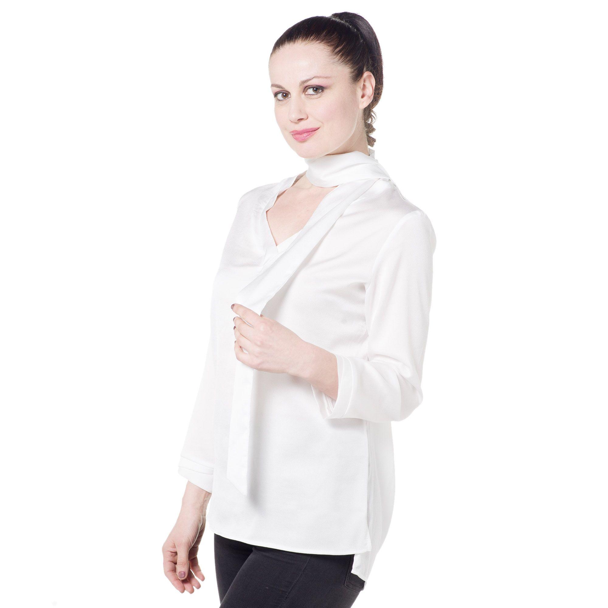 Silvia mori tunica in cr pe modello a camicia con sciarpina qvc italia - Qvc marchi cucina ...