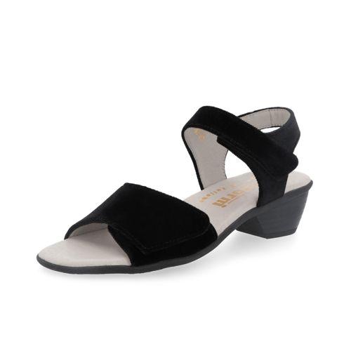Sandalo in velluto con chiusura con velcro e tacco 4.5cm qvc-moda neri La Salida De Nuevos Estilos Reales De Descuento Descuento De Compra Venta Barata Para Pre DOGHbFej