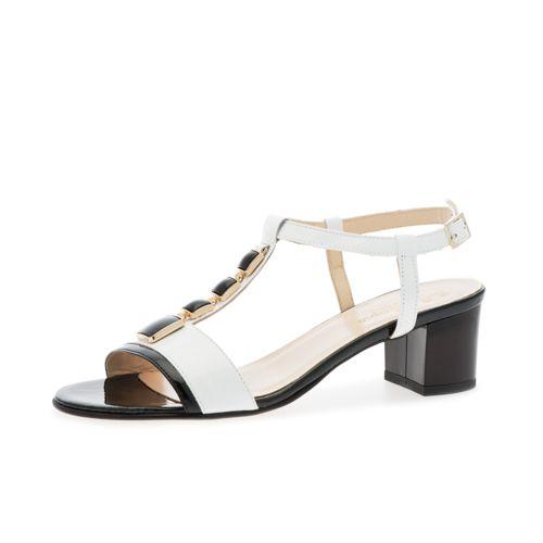 Sandalo a T in pelle con inserto gioiello e tacco 5cm qvc-moda crema Pelle Genuina Línea Barata Venta 2018 Unisex Con Mastercard En Línea KRaFjKj59h