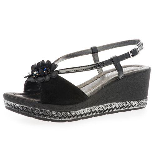 Sandalo in pelle con decoro floreale e zeppa 6.5cm qvc-moda neri Pelle 2018 Fresco Salida Comprar Barato Auténtica Genuina Precio Barato WbgnzzhZMq