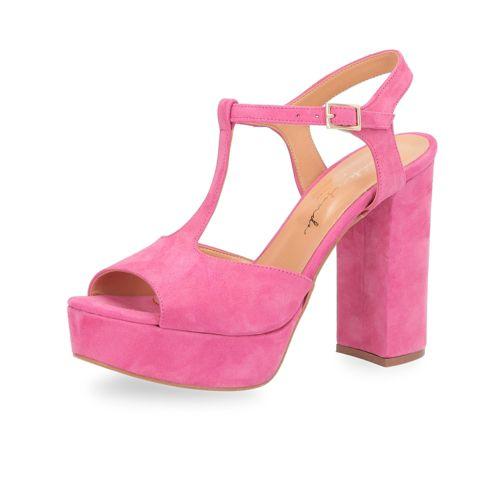 Sandalo a T in pelle scamosciata con tacco 11.5cm qvc-moda rosa Pelle 6e9zhUyW7z