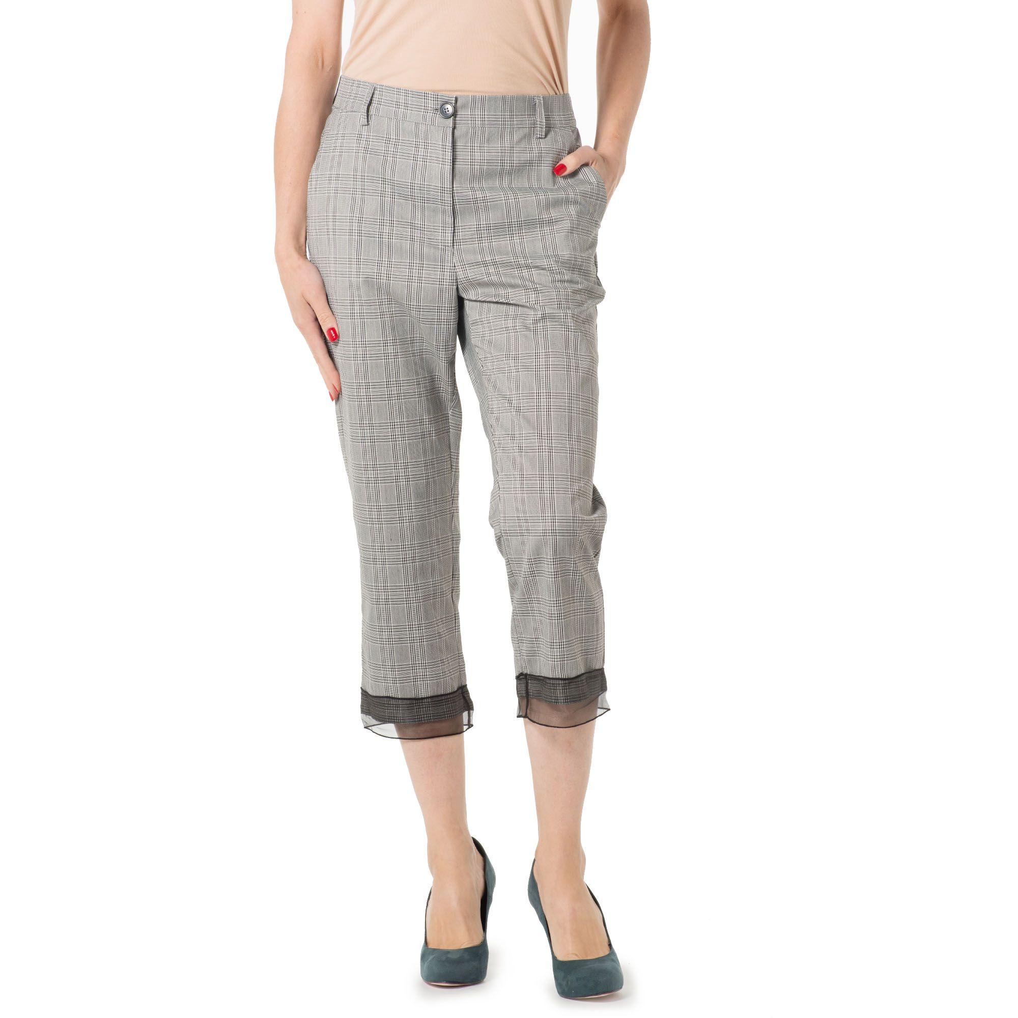 Image of Pantaloni a sigaretta in Principe di Galles con organza