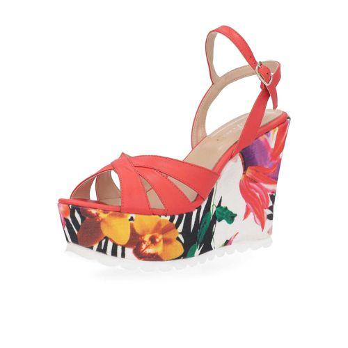 Sandalo a fasce incrociate in pelle, zeppa 11cm qvc-moda rosa Floreale