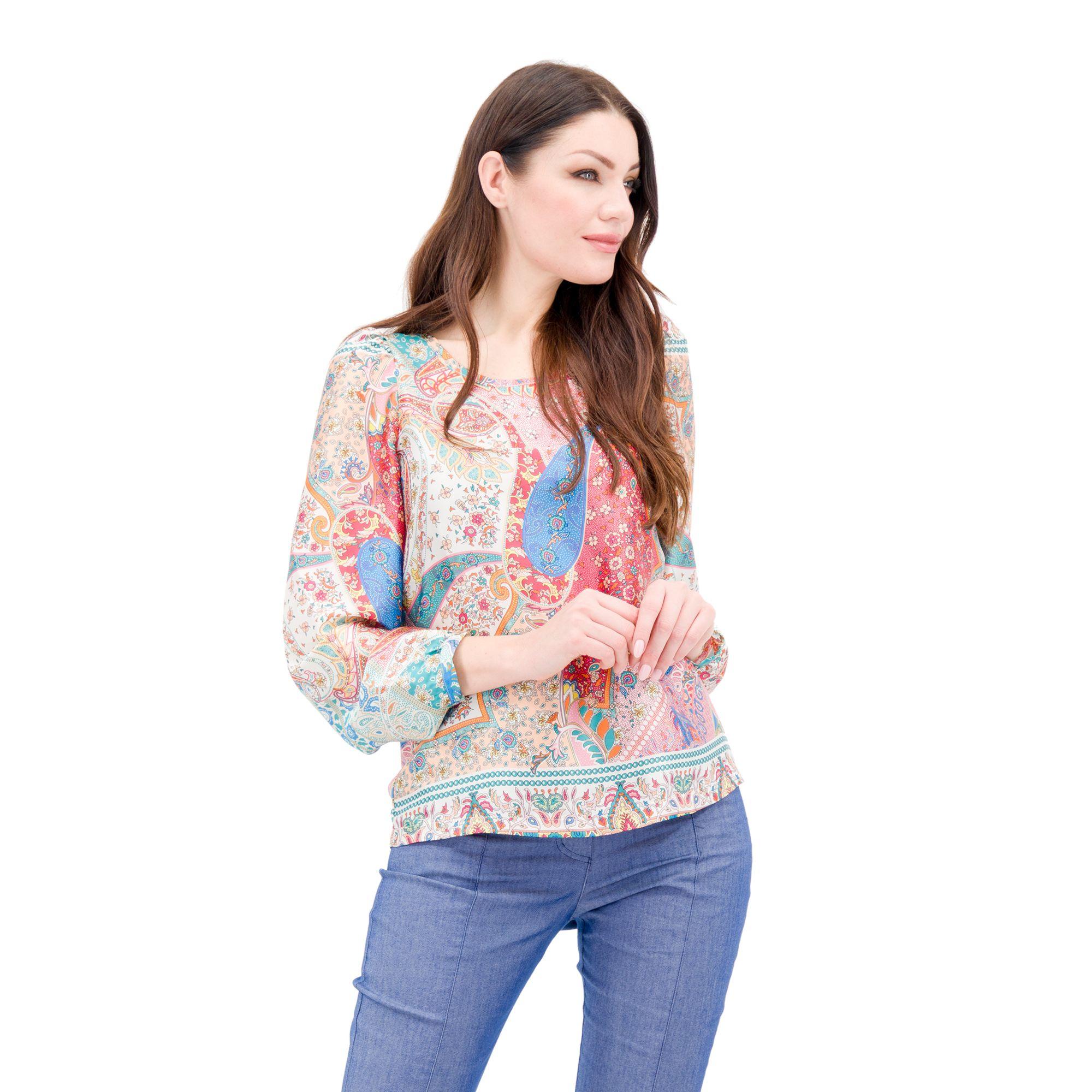 Image of Blusa in raso con fantasia patchwork