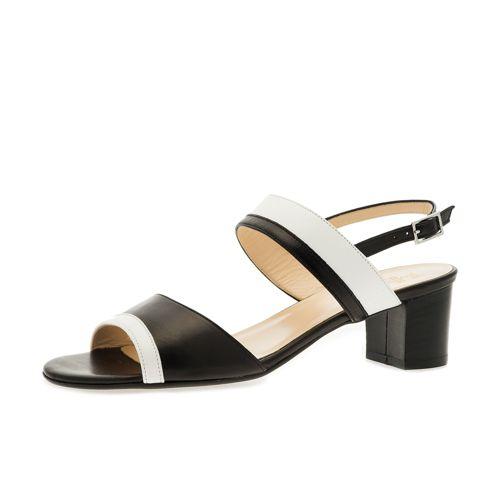 Sandalo bicolore in pelle con tacco 5cm qvc-moda Pelle Falsa Venta En Línea VFVsMYcclb