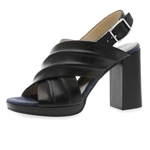 Sandalo in pelle a fasce incrociate con tacco 10cm qvc-moda neri Pelle XXtiCZNMQf