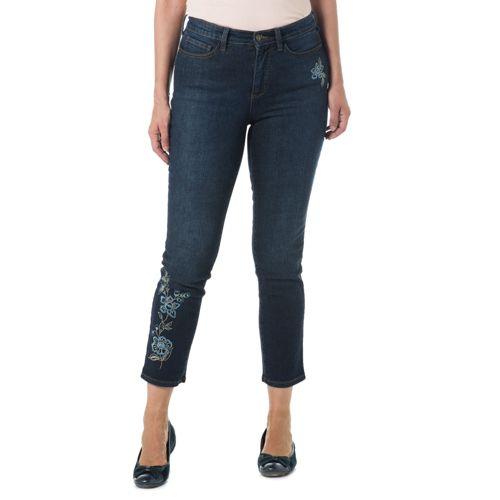 8e7a338688 Denim & Co. Jeans elasticizzato 5 tasche con ricamo floreale davanti