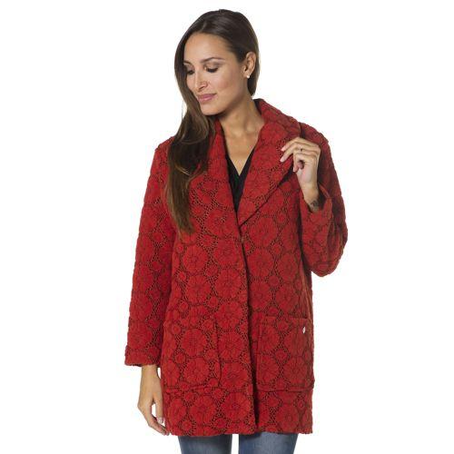 Officina della moda Cappotto in tessuto laniero effetto pizzo ...