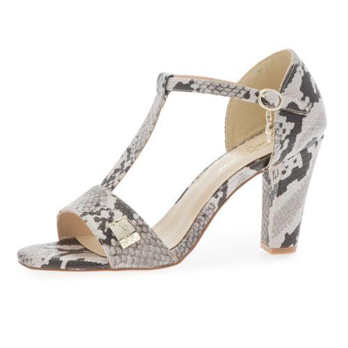 Sandalo a T Ketty effetto rettile con tacco 9cm qvc-moda bianco Estate Oyactv
