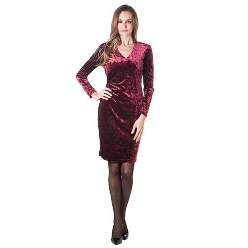 Qvc Vestiti Eleganti.Officina Della Moda Abito Con Scollo A V In Velluto Martellato Con