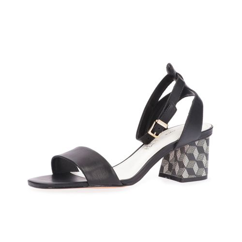 Sandalo in pelle, tacco fantasia 5.5cm qvc-moda Pelle
