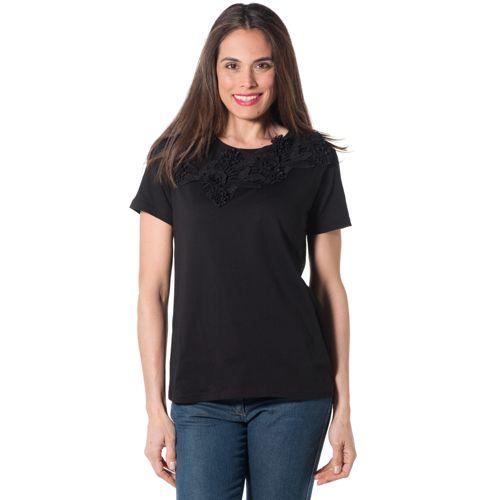 Maya Mey T-shirt made in Italy in cotone con fiori b27470d4a3e
