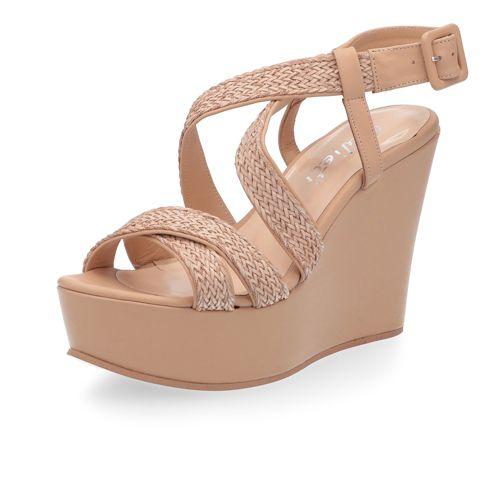 Pelle E Sandalo Con Fascette Intrecciate Zeppa Galieti In OZkXTPui