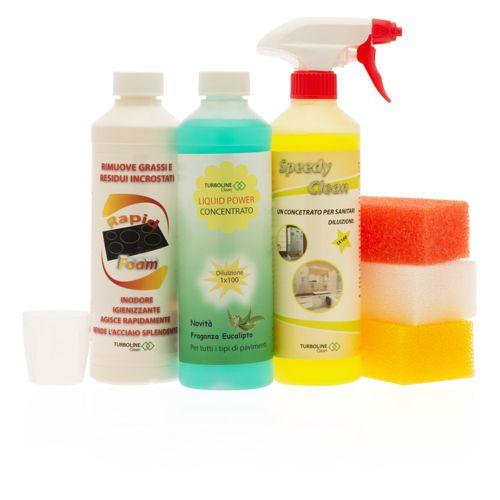 Turboline kit 3 prodotti per la pulizia di bagno cucina e pavimenti qvc italia - Prodotti pulizia bagno ...