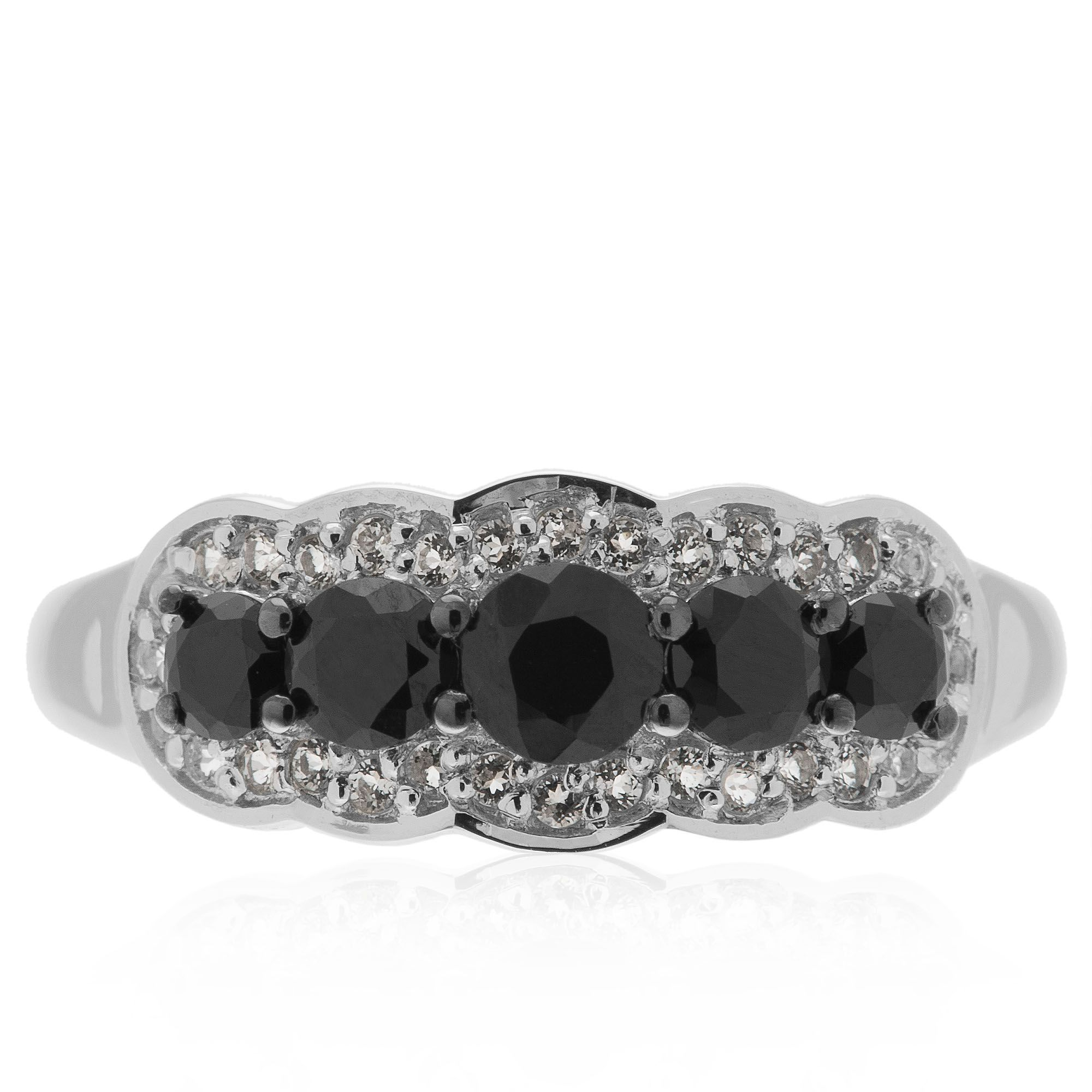 Midnight anello in argento 925 con topazi incolori e - Qvc marchi cucina ...