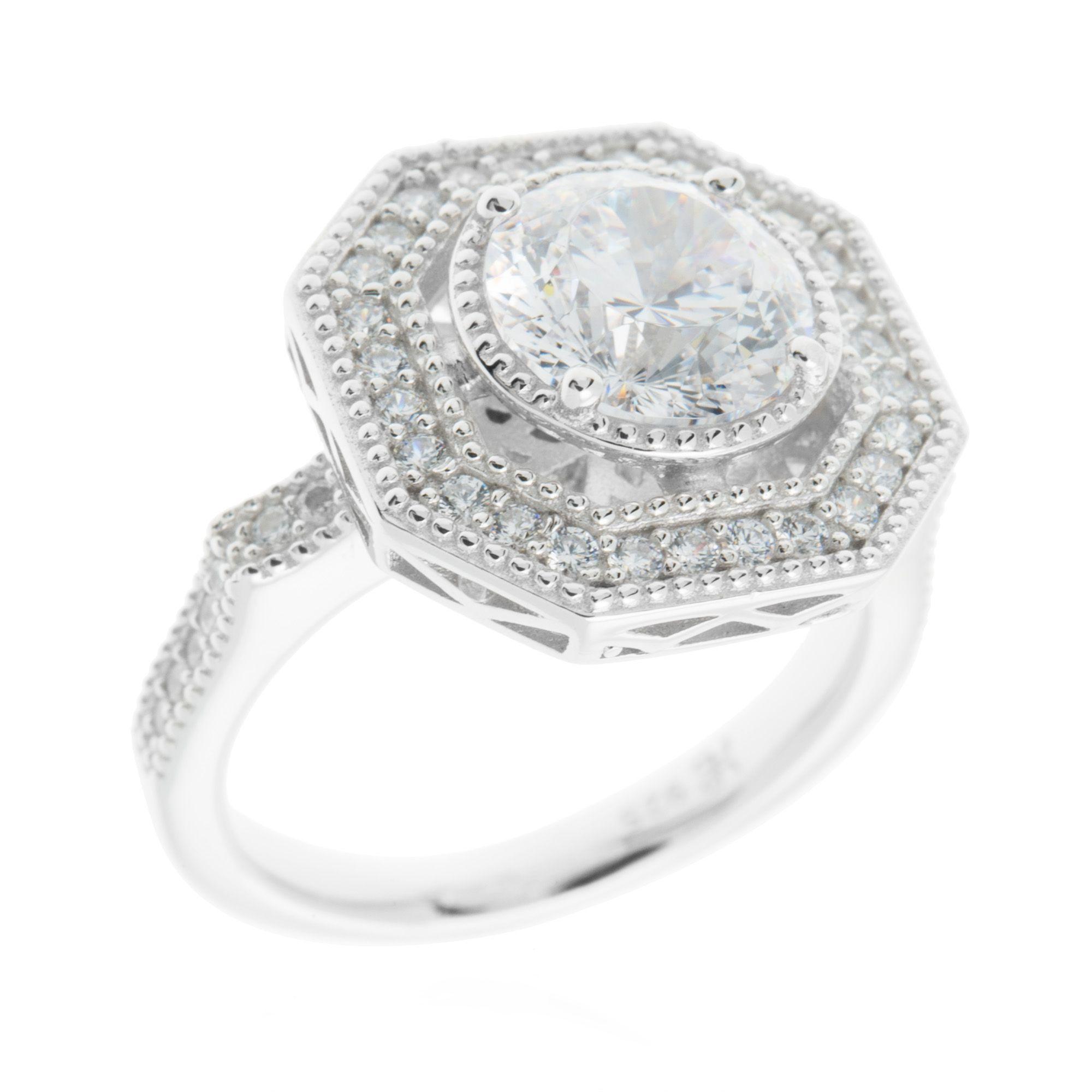 Diamonique solaris anello pari a placcato platino qvc italia - Qvc marchi cucina ...