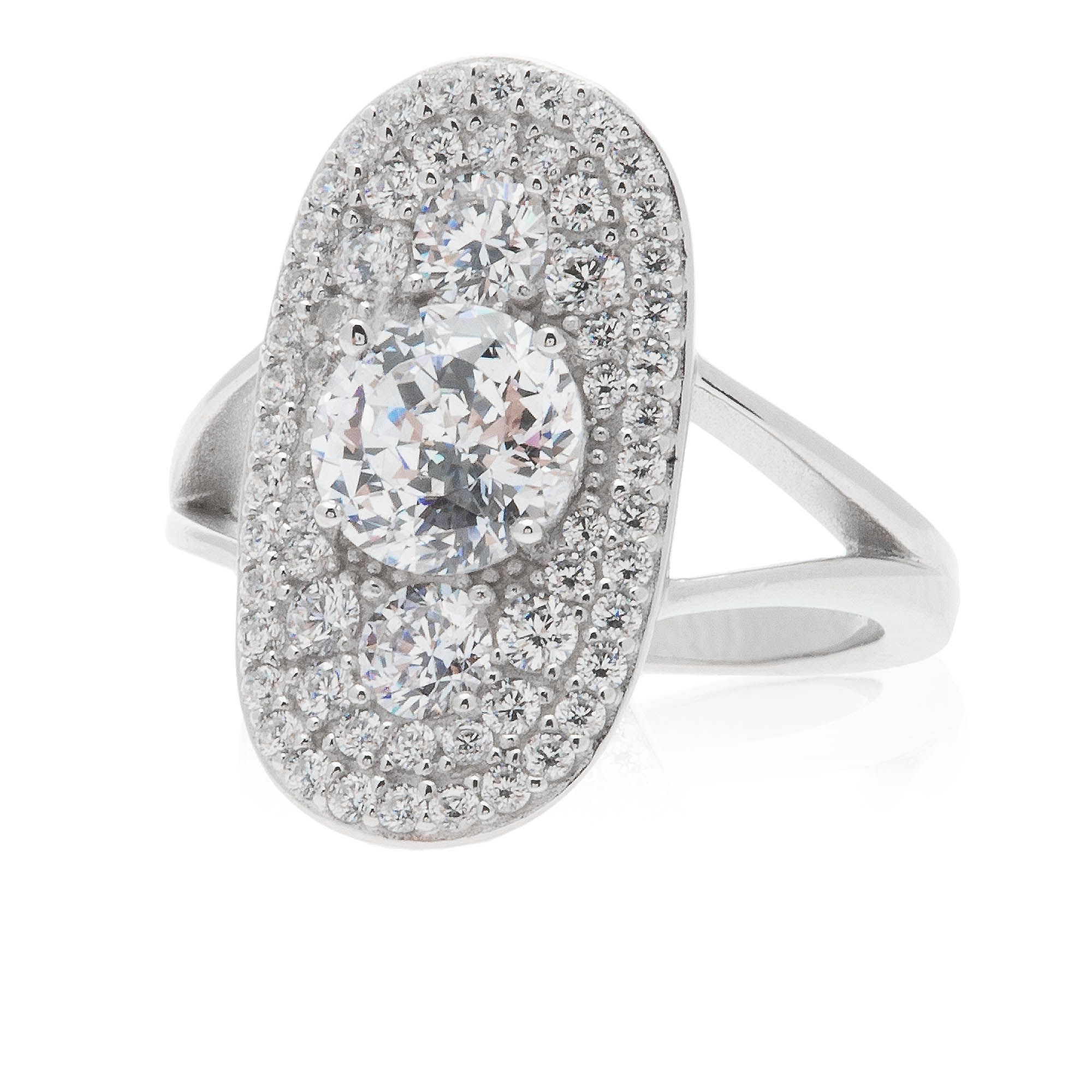 Diamonique 100 anello ovale pari a in argento 925 qvc italia - Qvc marchi cucina ...