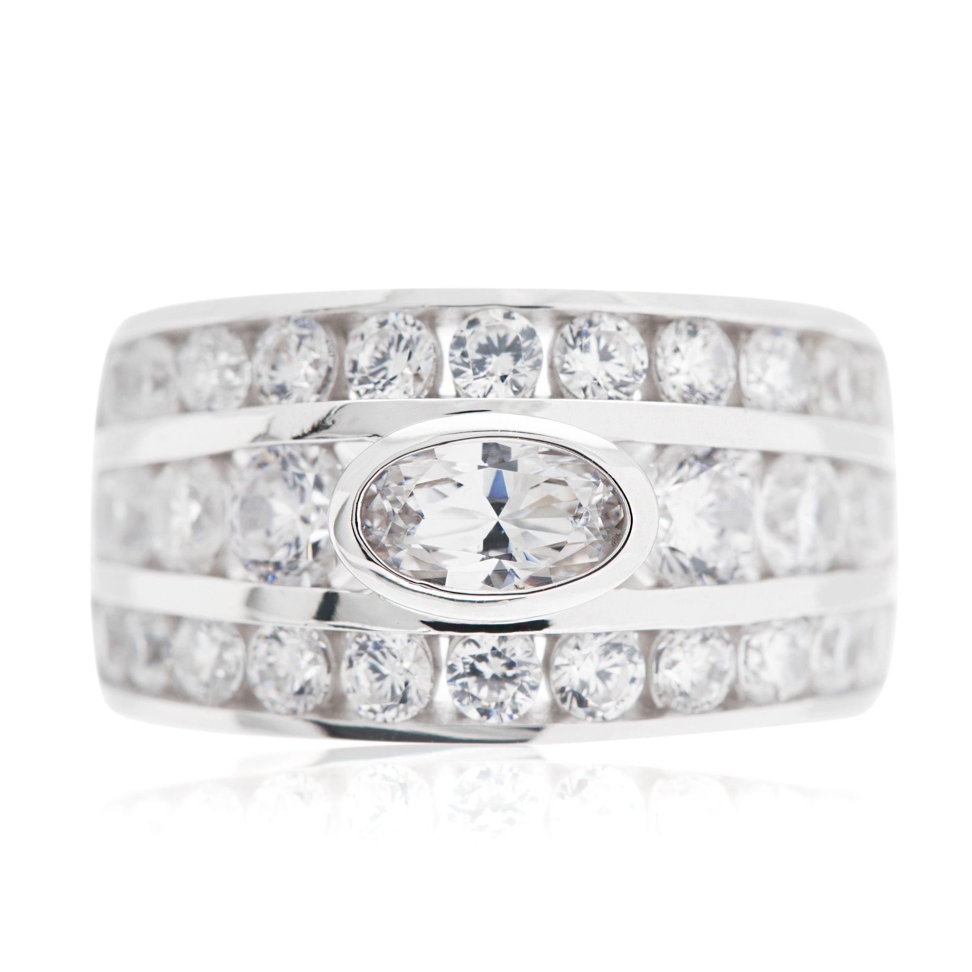 Diamonique anello a fascia pari a in argento qvc italia - Qvc marchi cucina ...