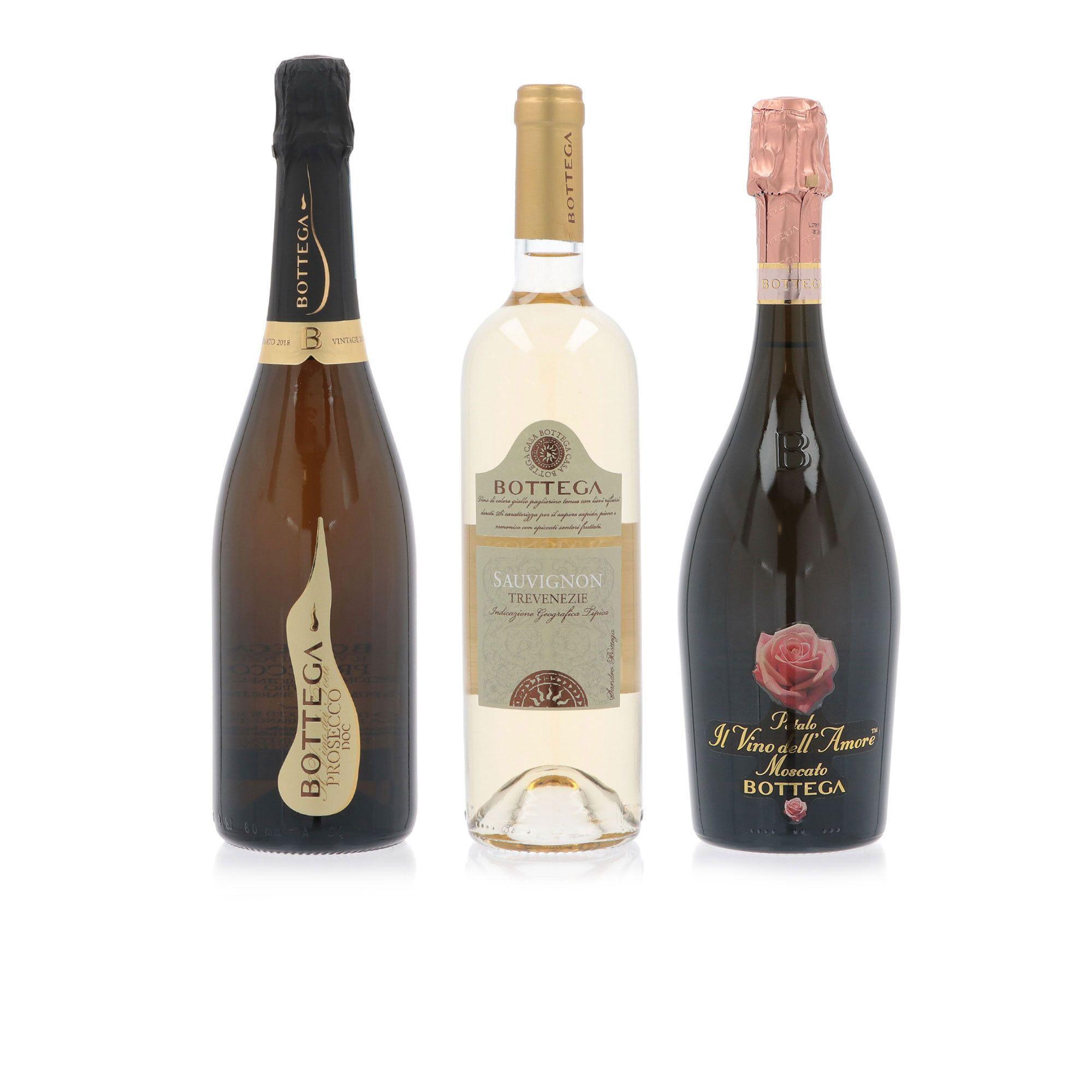 3 bottiglie vino: Prosecco, Sauvignon, Moscato