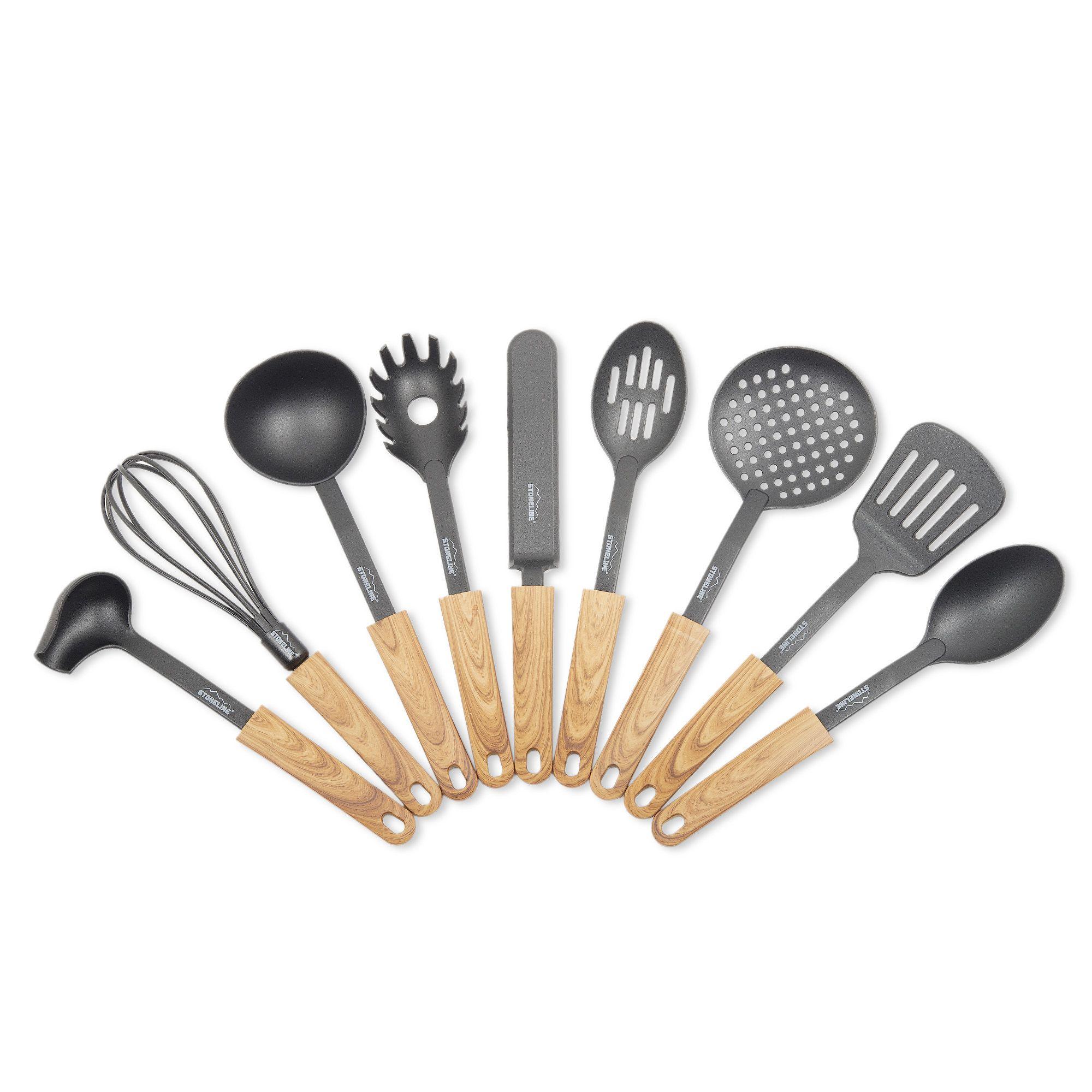 Stoneline set 9 utensili da cucina con manico effetto legno qvc italia - Qvc marchi cucina ...