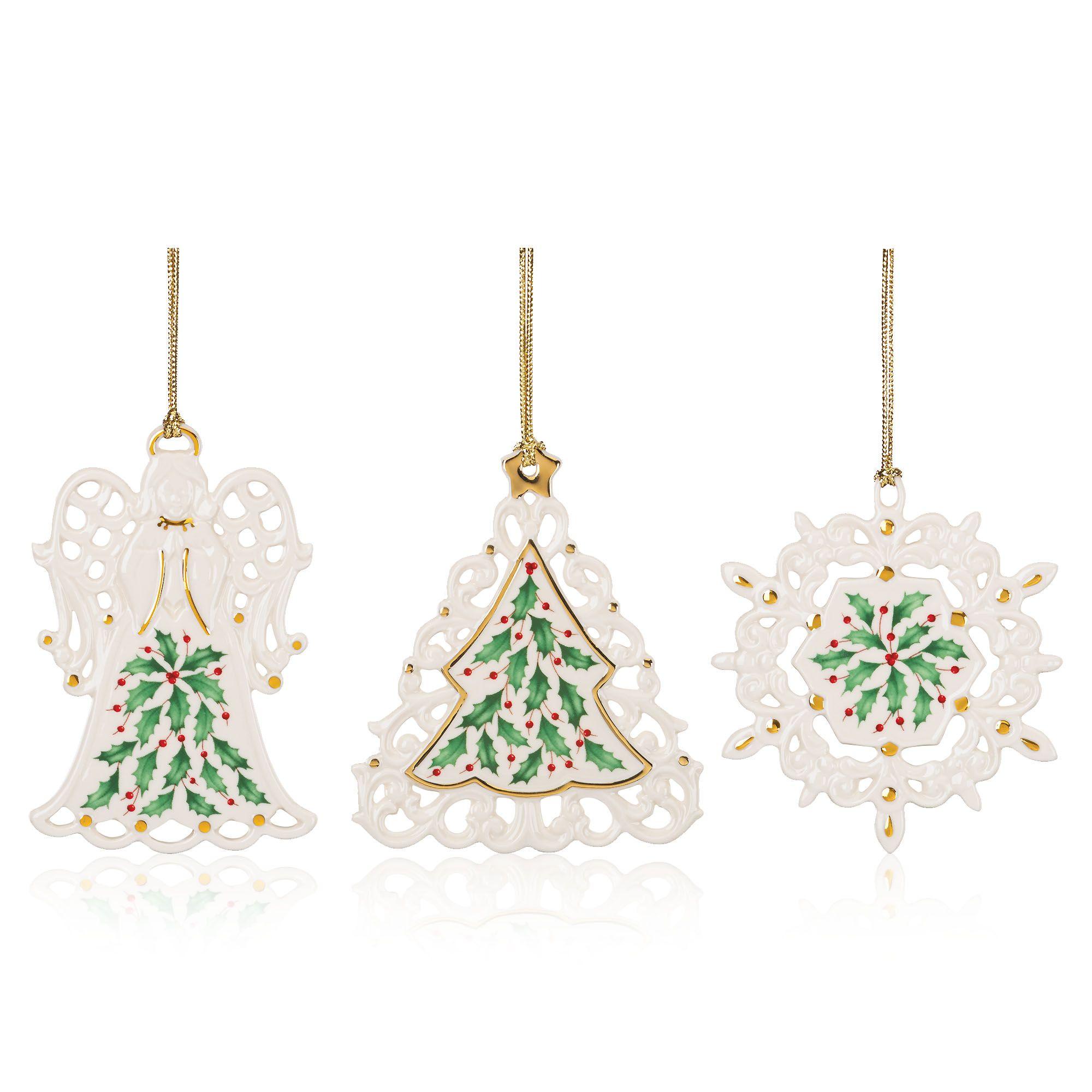 Lenox 3 decorazioni natalizie in porcellana con confezione - Qvc marchi cucina ...