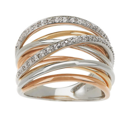 Tri color Solid 14K Gold 1 10cttwDiamond Ten band Highway Ring