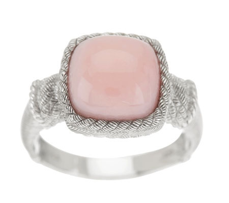 Judith Ripka Sterling Pink Opal Cabochon Textured Ring