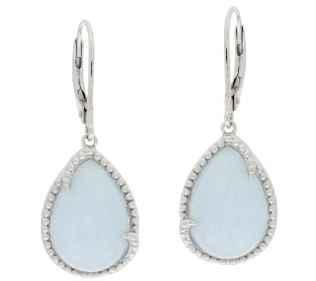 Milky Aquamarine Pear Shaped Drop Sterling Earrings