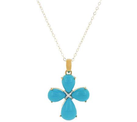 Sleeping beauty turquoise diamond accent cross pendant w chain sleeping beauty turquoise diamond accent cross pendant w chain aloadofball Images
