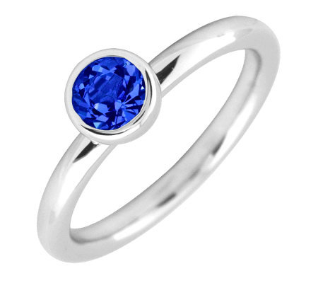Simply Stacks Sterling 5mm Round Sapphire Solitaire Ring