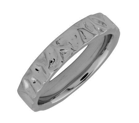Simply Stacks Sterling Black Rhodium-Plated Wave 4.25mm Ring
