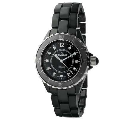 Peugeot Women's Swiss Ceramic Black Dial SportBezel Watch